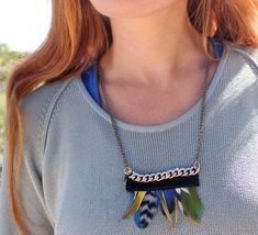 Gina Michele: DIY Anthropologie Fanned feather necklace