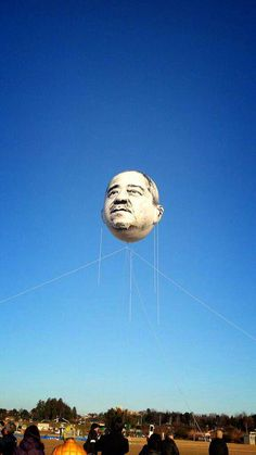 photo by @nrsh0428 A giant balloon shaped like an elderly man's head was flown over the city of Utsunomiya, Japan back in December in an absurdist art project entitled The Day an Ojisan's Face Floa...