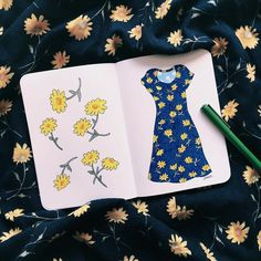 🌼🌼🌼  #flower #illustration #dress #summerdress #fashionillustration #fashion #beauty #flowermotif #dustybuttons