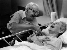 The older generation are far wiser and stronger than we give them credit for.  This picture sums up what being a true friend and partner means.  Hard times and health problems...yet they still laugh together. I love this picture