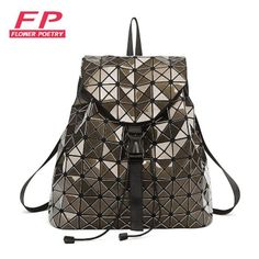 Colour Laser Backpack for Teenage Girls Women Drawstring Fold Geometry Mirror Geometry Quilted Backpack Sac Bao Bao School Bags