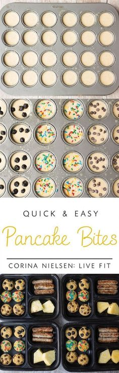 Make Ahead Breakfasts for Kids! These protein packed pancake bites are easy, versatile, and healthy!
