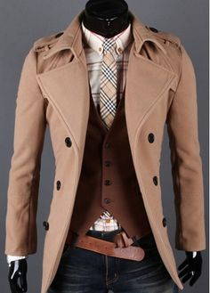 Handsome Turndown Collar Double Breasted Woolen Coat Light Tan