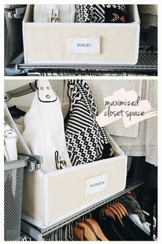 How to organize purses // Closet organizing tips & tricks // sweater bins repurposed // purse organization // SimplySpaced.com