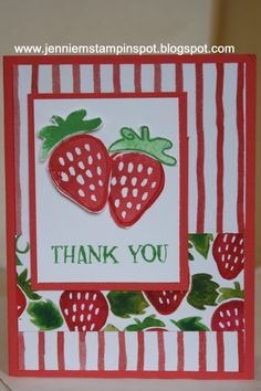 Thank You by CraftyJennie - Cards and Paper Crafts at Splitcoaststampers Fruit Stands, Paper Crafts, Diy Crafts, Bird Cards, Stamping Up Cards, Scrapbook Cards, Fresh Fruit, Thank You Cards, Stampin Up