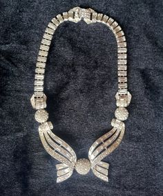 Signed Boucher Baguette and Pave Rhinestone Necklace by AveryCollection, $185.50