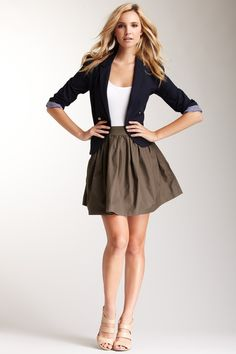Business casual. Love the flirty skirt and skintight blazer