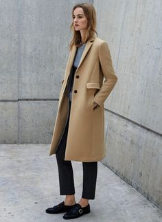 camel coat, grey sweater, cropped black pants & monk strap loafers #style #fashion #work #office