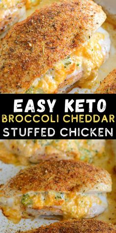 This Broccoli Cheddar Stuffed Chicken is a quick and easy keto dinner recipe around 2 net carbs per serving! This is a quick and easy low carb chicken recipe your entire family will love! #keto #lowcarb #chicken Low Carb Chicken Recipes, Healthy Low Carb Recipes, Low Carb Keto, Healthy Dinner Recipes, Diet Recipes, Cooking Recipes, Keto Fat, Low Carb Chicken Dinners, Low Carb Soups