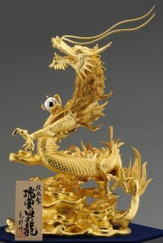 純金の登り龍!パワーアップ! | ラッキーママのブログ Japanese Dragon, Chinese Dragon, Chinese Art, Japanese Art, Gold Dragon, Dragon Art, Dragons, Statues, Gold Aesthetic