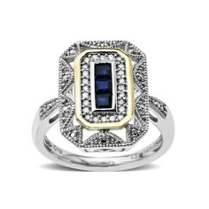 Sterling Silver and 14k Yellow Gold, Blue Sapphire Art Deco Style Ring (0.12cttw, I-J Color, I3 Clarity)