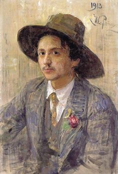 "artist-repin: "" Portrait of the painter Isaak Izrailevich Brodsky, 1913, Ilya Repin Size: 39x74 cm Medium: oil, canvas"""