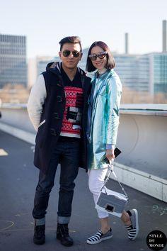 Paris Fashion Week FW 2014 Street Style: Eva Chen & Prabal Gurung » STYLE DU MONDE   Street Style Street Fashion Photos