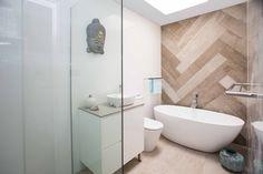 Leigh Surland Outdoor Tiles, Indoor Outdoor, Tile Projects, Bathroom Inspiration, Bathtub, Interior Design, Bathrooms, Modern, Herringbone