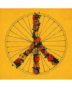 Peace And Bike Yellow Canvas By Speakerine Florent Bodart