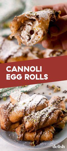 Cannoli Egg Rolls Creamy Cannoli Egg Rolls Were Made For Ricotta LoversDelish Chicken Egg Rolls, Pork Egg Rolls, Chicken Spring Rolls, Bread Rolls, No Egg Desserts, Delicious Desserts, Yummy Food, Dessert Egg Rolls Recipe, Ricotta