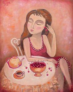 """Черешенка"" картина маслом. Handmade.  $217"