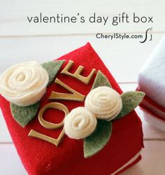 Inexpensive felt and an array of embellishments creates a DIY valentine felt gift box personalized for your special someone—we'll show you how! - Everyday Dishes & DIY