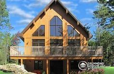Skylark 3 Three bedroom, two bathroom rustic chalet house plan with cathedral ceiling and open floor plan concept - W3938-V2
