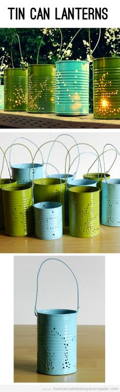 tin can lanterns! Get a tin can and punch holes with a nail and hammer and your on your way! candles diy crafts home made easy crafts craft idea crafts ideas diy ideas diy crafts diy idea do it yourself diy projects diy craft handmade easy candles Diy Projects To Try, Craft Projects, Craft Ideas, Backyard Projects, Fun Crafts, Diy And Crafts, Summer Crafts, Upcycled Crafts, Summer Diy