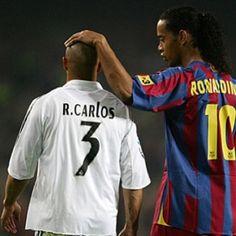 Roberto Carlos and Ronaldinho  FC Barcelona vs Real Madrid