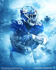 Saquon Barkley, New York Giants - Designing Sport New York Giants Players, Nfl Football Players, Football Art, Football Helmets, Basketball Art, Nba Players, Football Poses, Football Pictures, Beast Of The East