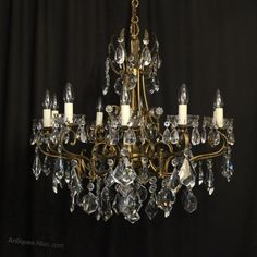 Antiques Atlas - Italian 10 Light Gilded & Crystal Chandelier Italian Chandelier, Antique Chandelier, Antique Lighting, Faceted Crystal, Crystal Pendant, Ceiling Rose, Ceiling Lights, Canopy, Bulb