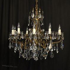 Antiques Atlas - Italian 10 Light Gilded & Crystal Chandelier Gilded, Light, Glass, Italian Chandelier, Bulb, Crystal Chandelier, Chandelier, Ceiling Lights, Ceiling Rose