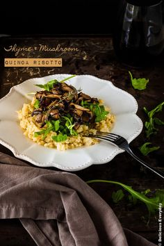 Thyme and Mushroom Quinoa Risotto Recipe {vegan} | DeliciousEveryday.com
