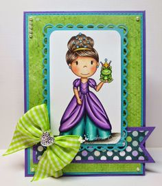"""Card featuring """"Frog Princess"""" from the Paper Nest Dolls. Designed by Deborah Deruyck"""