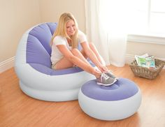 Intex INTEX Inflatable Cafe Chaise Lounge Chair - Purple / 68572E 68572EP-P,    #Intex Inflatable Mattresses