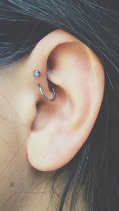 Forward helix, hoop, piercings
