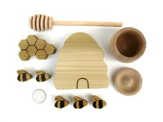 Honey Comes From Bees - Montessori Toy - Summer Toy. $25.00, via Etsy.  The bees may be too small to put on shelf but will work in a discovery bottle alongside with everything else for infant room :)