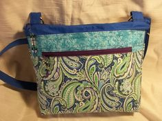Cross body VI handbag, in Blue, purple and green Paisley, with an adjustable strap, and many pockets by ChickadeeHillDesigns on Etsy