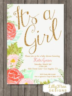 Watercolor Baby Shower Invitation Gold Glitter by LillyMaeDesigns