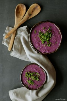 This easy, purple sweet potato vegan soup is oil-free and dairy-free of  course. The purple sweet potatoes have a unique taste of their own and  paired with...