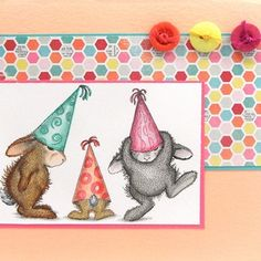 Stampendous Cling Mounted Rubber Stamp - House Mouse Happy Hopper Party Hats
