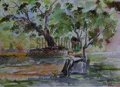 $149 USD. Landscape painting of a park in Banaras Hindu University: Original handmade painting of a park in BHU.
