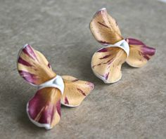 Unique Real Natural Flower Stud Earrings - Botanist In Love Jewelry - Unique handmade dried flowers jewelry