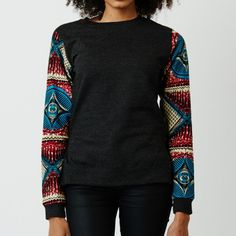 www.cewax.fr aime pull sweat en wax. Mode femme afro tendance, style ethnique, tissus africains: wax, ankara, kente, kitenge, bogolan... African Fashion, ethno tendance, African Prints, African clothing http://www.hapyface.fr/441-thickbox/sweat-manche-wax.jpg