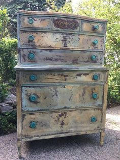 Hand Painted Antique Dresser using Annie Sloan Country Grey , and Cream with loads of blending and techniques to give this an piece an Old World Charm , we added gorgeous Florence Turquoise Knobs - Bohemian Dresser - Vintage Painted Dresser in Yellow- French Country Dresser - Shabby Chic Dresser - French Provincial - FarmHouse Rustic Dresser by DareToBeVintage on Etsy #shabbychicdressersgrey #shabbychicdressersvintage