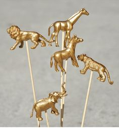 Gold spray painted animals