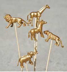Gold spray painted animals