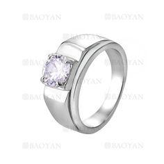 anillo de brillante cristal en acero plateado inoxidable -SSRGG271874
