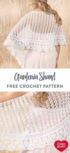Yarnspirations is the spot to find countless free intermediate crochet patterns, including the Aunt Lydia's Gardenia Shawl. One Skein Crochet, Poncho Au Crochet, Bag Crochet, Crochet Shawls And Wraps, Thread Crochet, Crochet Scarves, Crochet Clothes, Crochet Lace, Crochet Vests