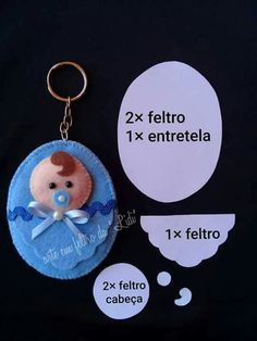 could be made for front of baby card Lembrancinha bebêLittle baby boy and girl in felt w/pattern - Salvabrani Felt Crafts Patterns, Felt Crafts Diy, Baby Crafts, Baby Shower Parties, Baby Boy Shower, Baby Shower Gifts, Felt Keychain, Baby Shawer, Felt Toys