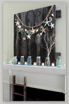 beautiful rustic wall art with a beachy theme, made from an old wood pallet. Over the mantel??
