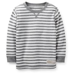 Carter's Boy's Gray Striped L/S Thermal Tee Kids). Long-sleeve thermal tee matches his favorite bottoms. Yarn-dyed stripes hold color wash after wash. Baby Boy Tops, Carters Baby Boys, Disney Sweaters, Girls Sweaters, Carter Kids, Sweater Refashion, Cut Shirts, Striped Tee, Toddler Outfits