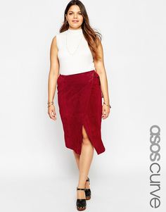 Image 1 ofASOS CURVE Wrap Midi Skirt in Suede with D-Ring