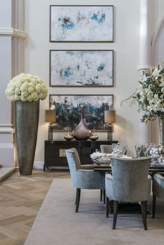 [New] The 10 Best Art (with Pictures) - In our converted Chapel project we used a large trio of artwork co-ordinated with a large floor vase in our dining room design to match the grand scale of this beautiful period building. Interior Exterior, Luxury Interior, Interior Design, Large Floor Vase, White Accent Chair, Beautiful Dining Rooms, Dining Room Design, Luxury Homes, Dining Chairs